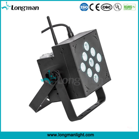 Indoor 9X10W RGBW DMX Battery Powered LED Disco PAR Lights pictures & photos