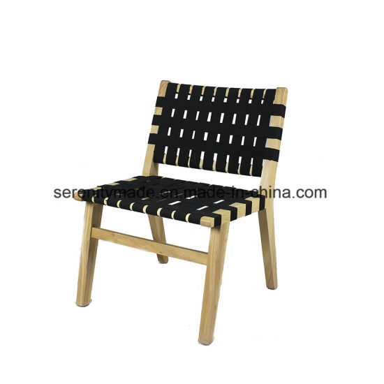China Cafe Shop Modern Solid Wood Dining Chair With Woven Seat