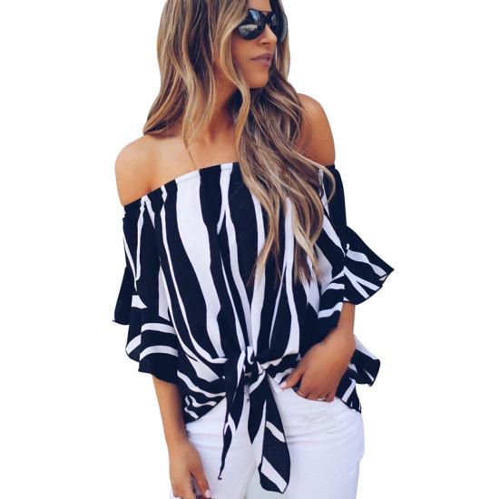 Fashion Women Pink off The Shoulder Vertical Stripes Blouse