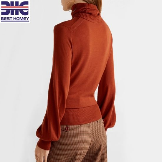 b2d422273672b Women′s Roll Neck Bell Long Sleeves 100% Wool Knitted Latest Design  Pullover Sweaters
