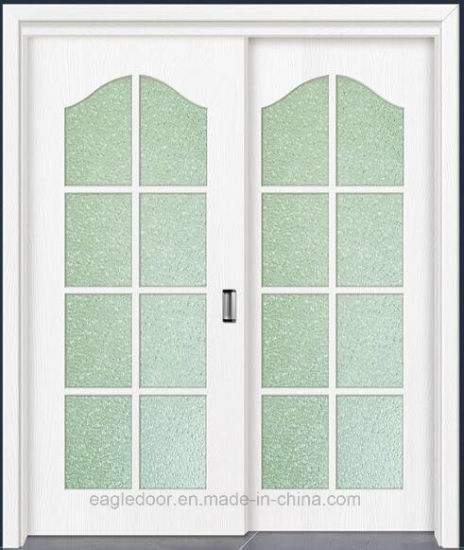 China Simple Designs Modern Glass Wood Door Design Melamine Finish
