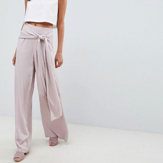 Oversized Tie Front Wide Leg Pants