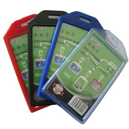 Vertical Soft PVC Working ID Badge Name Card Holder (T-014V)