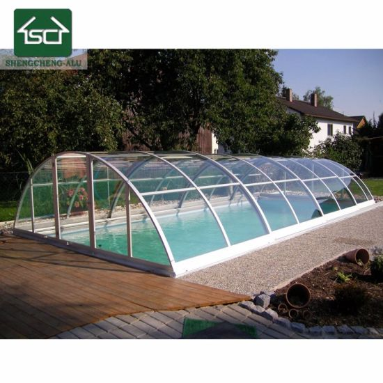 Retractable Waterproof Swimming Pool Cover And Enclosures With Aluminium  Frame
