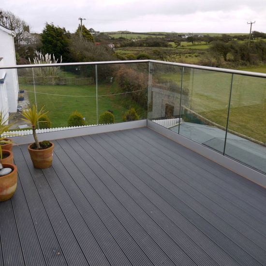 Aluminum U Channel Gl Barade With Tempered Panel For Decking