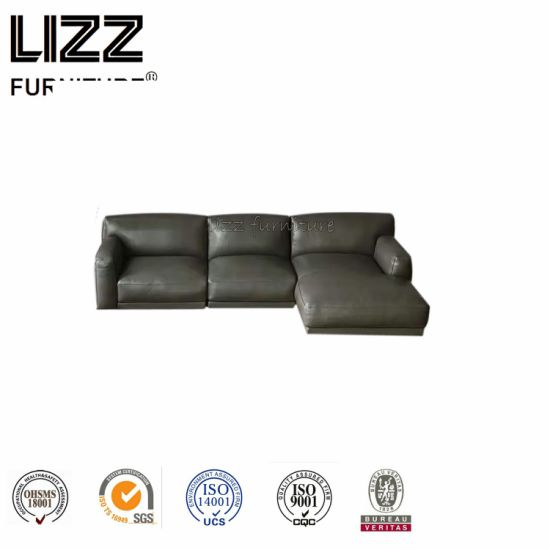 Top Grain Leather Hard Wood Construction Feather Sofa