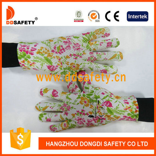 Flower Designwith PVC Dots Labour Protection Gloves