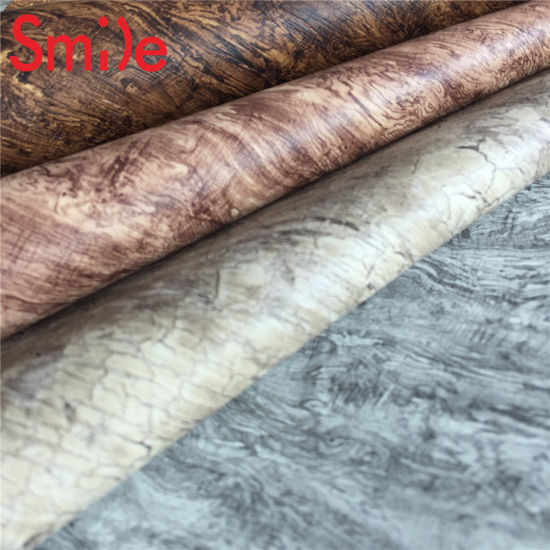 Wood Grain Faux Leather material for Sofa Furniture Synthetic Leather for  Shoes Upper