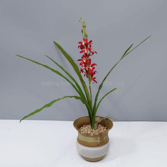 Factory Cheap Wholesale Cymbidium Artificial Silk Flower for Office Decoration