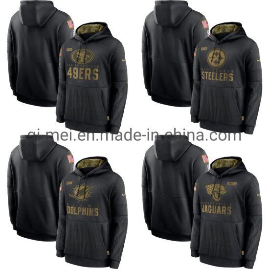 2020 Salute to Service 49ers Steelers Dolphins Jaguars Black Sideline Pullovers Hoodies