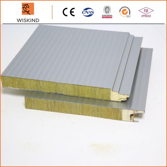 Economic Insulation PU Foam Edge Sealing Rock Wool Sandwich Panel for Prefabricated Building