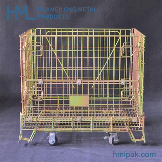 Large Size Cheap Welded Logistics Wine Bottles Wire Container with Wheels