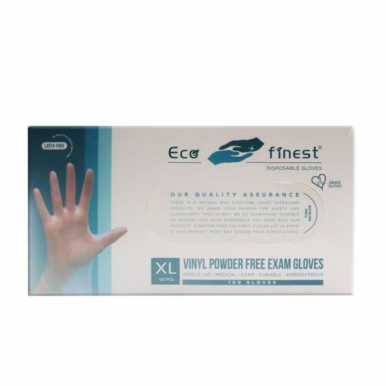 Eco Finest Disposable Vinyl PVC Gloves, XL (100 Pack Bulk) (M/L/XL Available) , Latex Free / Powder Free, for Hand Protection / Food Handling