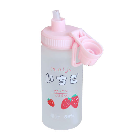 Promotional Christmas Gift Silicone Straw Reusable Frosted Glass Water Bottle 550ml with Straw Cap