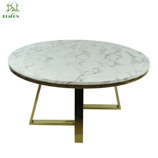 Marble Top Stainless Steel Golden Coffee Table