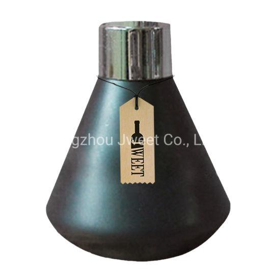 Custom Taper Shape 750ml Black Tequila Ceramic Bottle