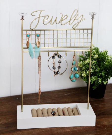 Wood Base Wire Jewellery Holder 28X10X41.5cm Jewelry Display Rack Stand, Home Decor Craft, Home Decor, Wooden Art, Home Decoration