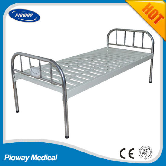 Hot Sale Cheapest Stainless Steel Head and Foot Flat Hospital Bed (PW-D03)