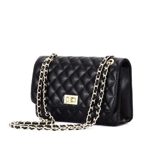Fashion Black Leather Diamond Ladies Shoulder Handbags with Chain Strap