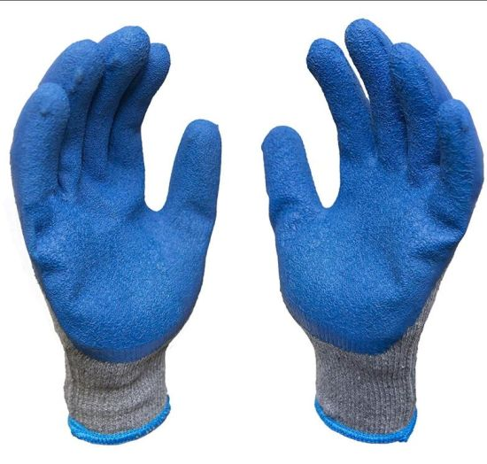 12-Pairs Knit Work Gloves with Textured Rubber Latex Coated for Construction