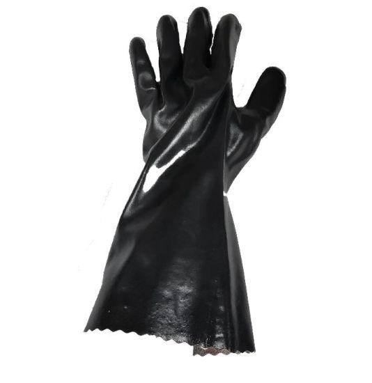 Black Long PVC Coated Waterproof Work Gloves with Interlock Liner for Industry