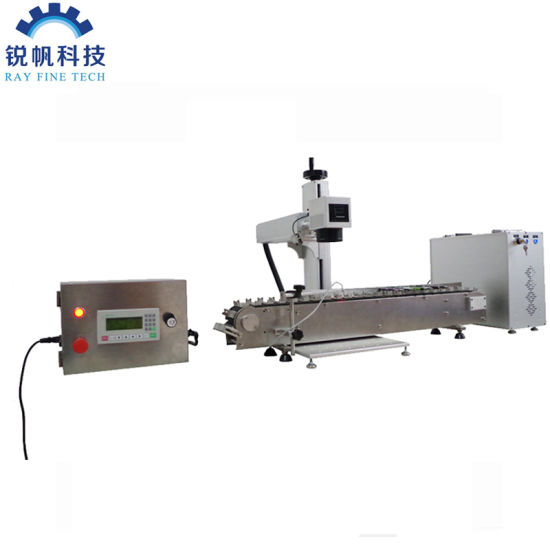 30W Fiber Laser Marking Machine with Conveyor Belt for Sale