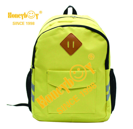Whole Sales Mochila for Students with PU Label and Reflective Straps Backpack