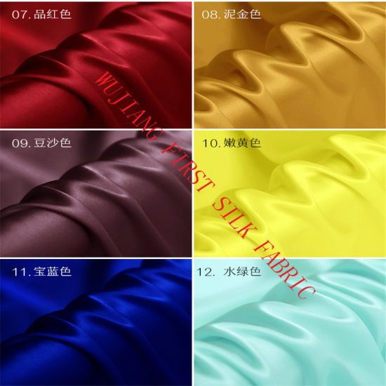 Available Colors of 19mm Silk Satin Fabric pictures & photos