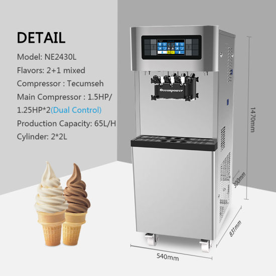 Dual Control System Touch Screen Soft Icecream Machine Oceanpower Ne2430L for Commercial Use pictures & photos