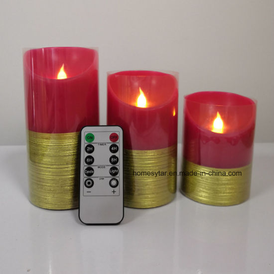 Red Color Flameless Candle Light with Gold Brushed Effect, Real Wax Candle Light with 10key Remote Control +Timer Function