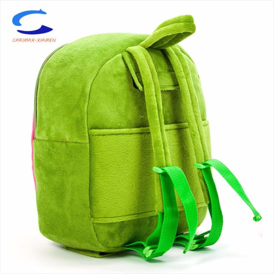 f90b363eec China ODM Exported 13′′ Green Kids Cartoon Cute Fabric Woolen Trolley Backpack  School Bag with Double Rubber Wheels and 4 Supporting Points