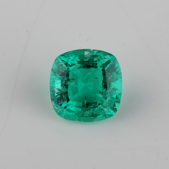 2 Caras Columbia Emerald Green Cushion Cut Hydrothermal Emerald