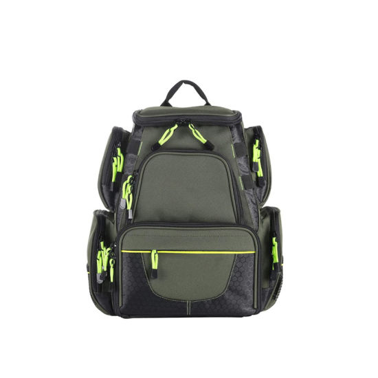 Fishing Tackle Backpack, Water-Resistant Large Storage with 4 Trays, Outdoor Multifunctional Box Tackle Bag for Fishing Camping Hiking Cycling
