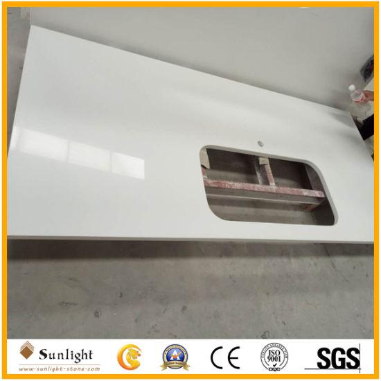 Wholesale Pure White Prefab Artificial Quartz Stone Countertop for Kitchen