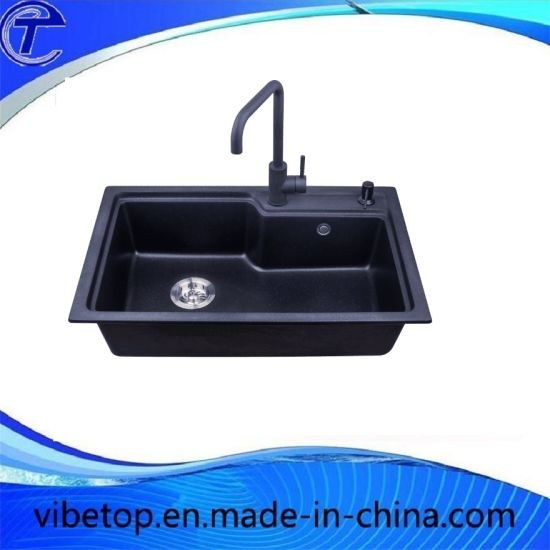 China Black Granite Quartz Stone Kitchen Sink Single Double Bowl ...