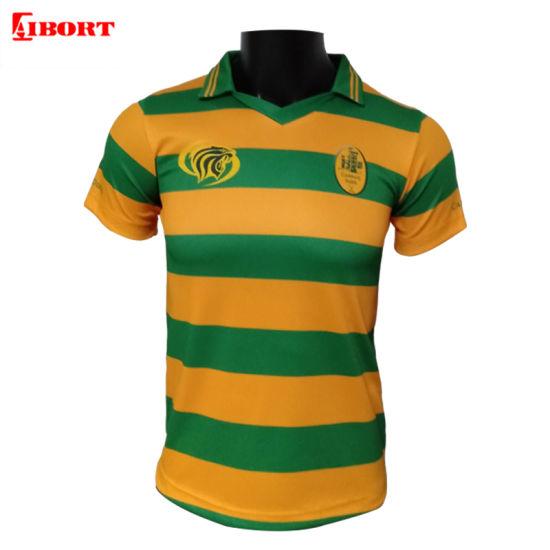 Aibort Man Sublimated Custom Uniform Green Yellow Stripe Polo Shirt