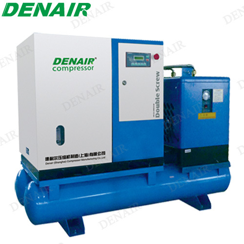 Silent Electric Stationary Rotary Air Compressor with Air Horizontal Tanks pictures & photos