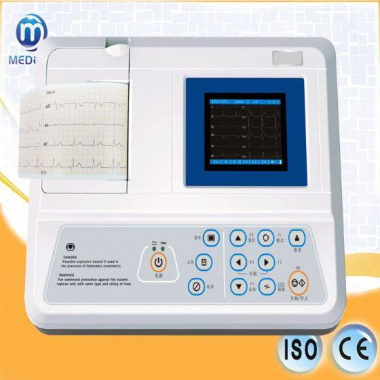 Medical Equipment Me3301 Single Channel 12 Leads 5 LCD ECG with Battery Electrocardiograph pictures & photos