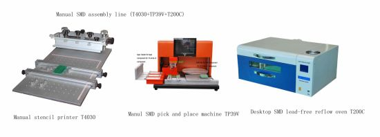 China Manual SMD Assembly Line Stencil Printer+Pick and