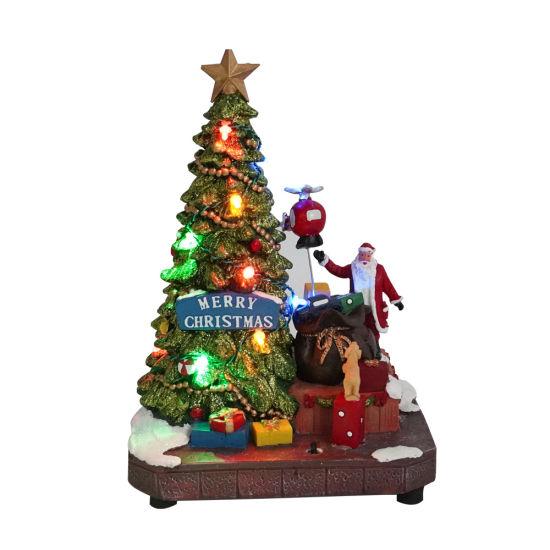 Wholesale Xmas Tree and Santa Scene Mult Functional Animated LED Musical Resin Christmas Village