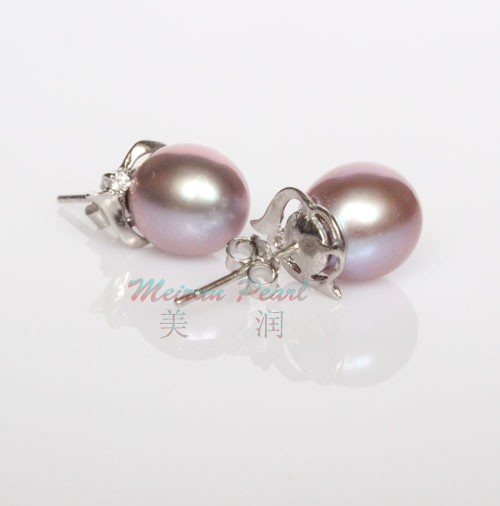 29731b874a6 925 Sterling Silver 9-10mm Purple Freshwater Pearl Stud Earrings pictures    photos