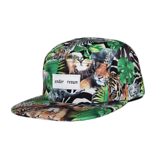 f9e58361 China Wholesale Dye Sublimation Printing Woven Label 5 Panel Hat ...