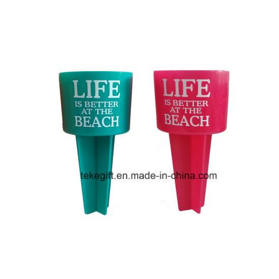Beach Buddy Beverage Sand Coaster Plastic Drink Cup Holders