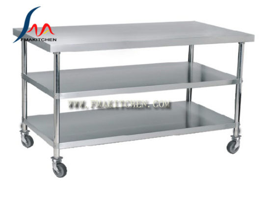 China Stainless Steel Table with 2 Under Shelves and Castor /Moving ...