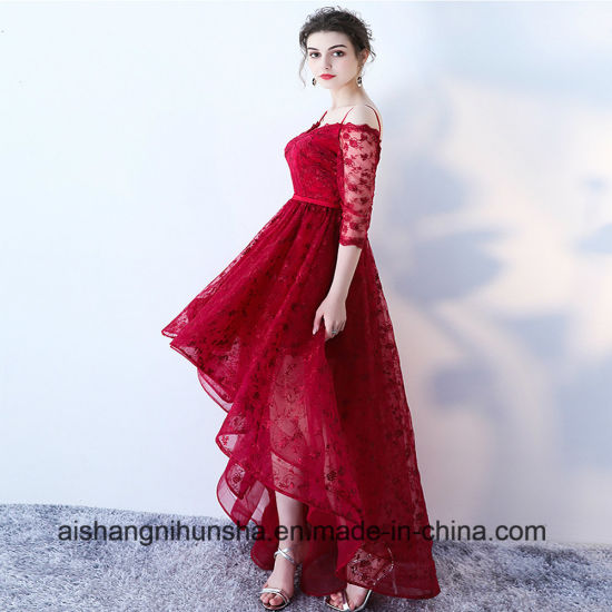 China Asymmetrical Wedding Dress Lace Evening Gowns V-Neck A Line ...