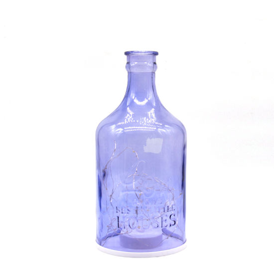 Blue Color Glass Storm Lamp Holder Lantern with Vase Type pictures & photos