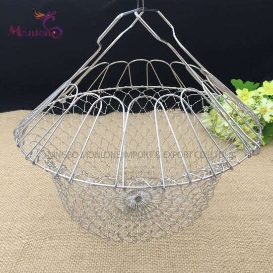 Foldable Stainless Steel Steam Rinse Strain Fry Cooking  Mesh Strainer Colander Kitchen Tool pictures & photos