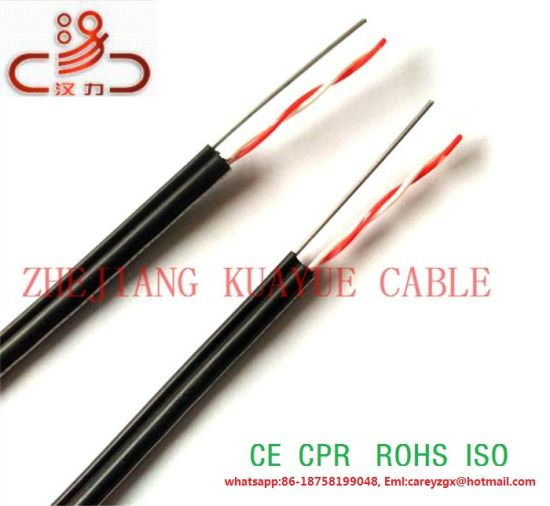 Drop Wire Parallel Telephone Cable 2c 0.9, 1.0mm Copper and 1c Steel Wire pictures & photos