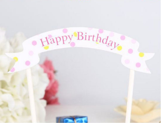 factory customized happy birthday letter banner cake decoration paper flag cake banner