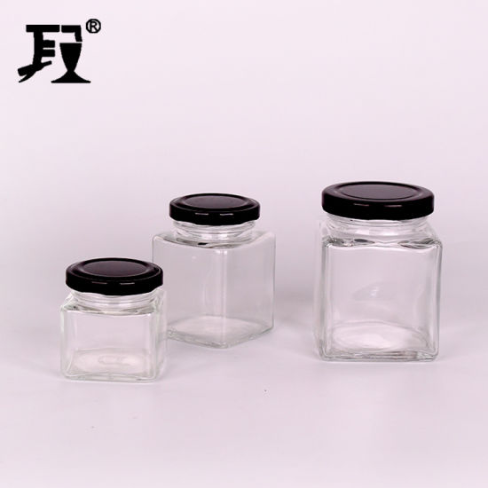 100ml 200ml 300ml Square Glass Jar pictures & photos